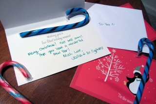 Christmas cards and candy canes