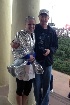 Dad and I at the end -- the shiny thing was for warmth