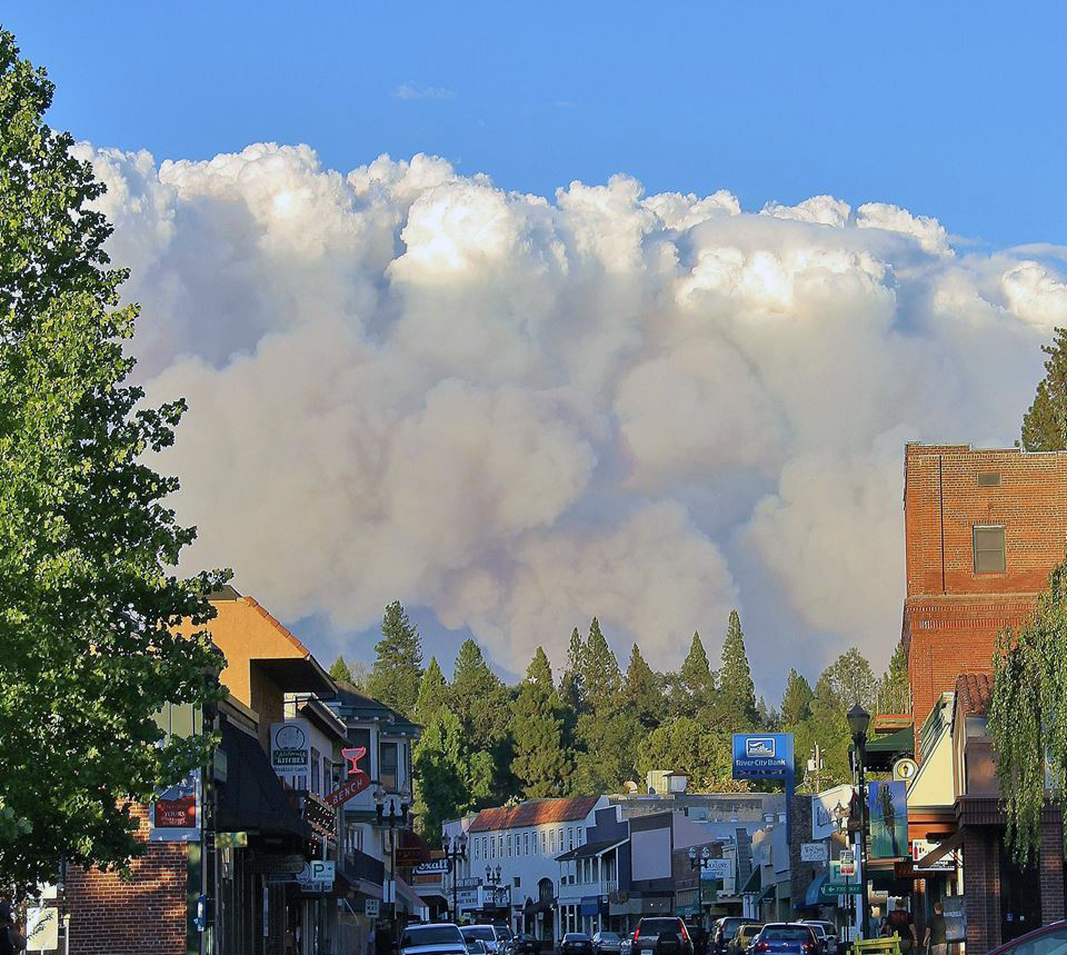 Smoke from the King Fire as seen from Main Street, in Placerville