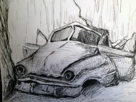 Broken-down-car-drawing-in-ink